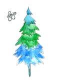 Árbol de navidad abstracto por la pintura de la acuarela en el fondo blanco con palabra de la escritura de la mano de la alegría Foto de archivo libre de regalías