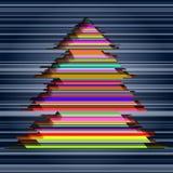 Árbol de navidad colorido de las rayas Imágenes de archivo libres de regalías