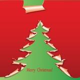 Árbol de navidad creativo formado del papel. Fotos de archivo