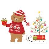 Árbol de navidad del oso Foto de archivo libre de regalías