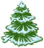 Árbol de navidad en la nieve Árbol de abeto del invierno Árbol de pino verde Foto de archivo libre de regalías
