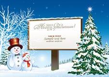 Árbol de navidad en un fondo de la cartelera Imagen de archivo libre de regalías