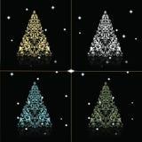 Árbol de navidad fijado en fondo negro de oro Foto de archivo