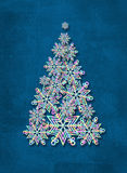 Árbol de navidad hecho de los copos de nieve Fondo abstracto del invierno Imagenes de archivo