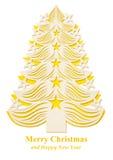 Árbol de navidad hecho del papel - amarillo Foto de archivo
