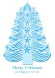Árbol de navidad hecho del papel - azul Foto de archivo