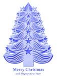 Árbol de navidad hecho del papel - azul marino Fotografía de archivo