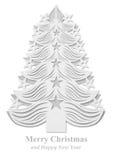 Árbol de navidad hecho del papel - blanco Fotografía de archivo