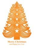 Árbol de navidad hecho del papel - naranja Foto de archivo libre de regalías