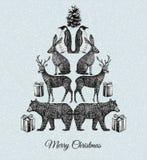 Árbol de navidad Impresión animal dibujada mano del espejo Fotos de archivo libres de regalías