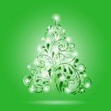 Árbol de navidad ornamental verde brillante Imágenes de archivo libres de regalías