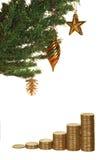 Árbol de navidad y dinero Imágenes de archivo libres de regalías