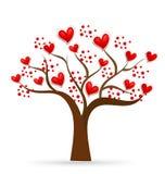 Árbol del logotipo de los corazones de las tarjetas del día de San Valentín del amor Imagen de archivo libre de regalías