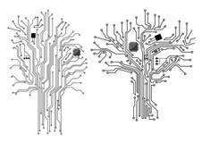 Árbol del ordenador con el microprocesador y la placa madre Imagen de archivo libre de regalías