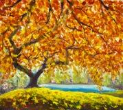 Árbol del otoño cerca del agua Paisaje del otoño de la pintura al óleo Fotos de archivo libres de regalías