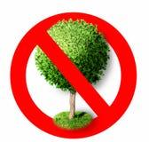 Árbol en muestra roja de la prohibición Pare el símbolo Imagenes de archivo