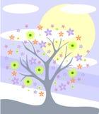 Árbol estilizado con las flores Imágenes de archivo libres de regalías