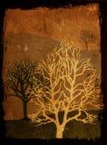 Árboles de Grunge - sepia Imagen de archivo