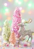 Árboles de navidad coloreados pastel Imágenes de archivo libres de regalías