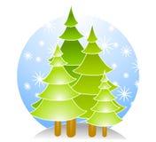 Árboles de navidad con nieve Foto de archivo libre de regalías