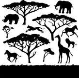 Árboles y animales africanos, sistema de siluetas Fotos de archivo