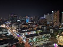 Night view Pattaya Thailand. Night top view on hotel royalty free stock photography