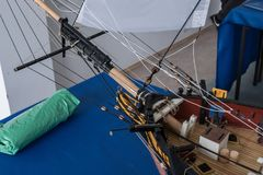 RC在竞争的比例模型船 库存照片