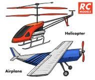 RC μεταφορά, πρότυπα τηλεχειρισμού στοιχεία σχεδίου παιχνιδιών για τα εμβλήματα, εικονίδιο ελικόπτερο και αεροσκάφη ή αεροπλάνο α Στοκ φωτογραφία με δικαίωμα ελεύθερης χρήσης