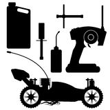 RC buggy with accessories. RC buggy silhouette with accessories over white vector illustration