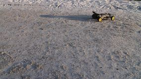 RC buggy car on snow stock footage