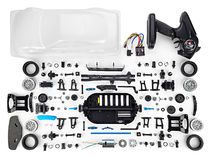 RC car assembly kit. On white background Royalty Free Stock Images