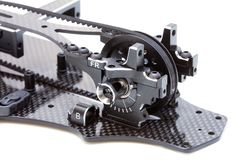 RC Car Chassis and Parts. Being built to form a radio controlled race car Stock Images