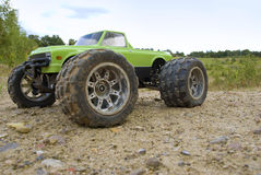 RC Car Monster Truck. Remote controlled car standing outside on sand stock photos