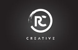 RC Circular Letter Logo with Circle Brush Design and Black Background. vector illustration