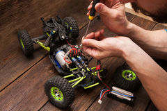 Rc crawler model toy electronics repair Royalty Free Stock Photo