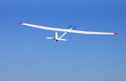 RC glider flying in the blue sky Stock Images