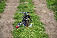 RC Helicopter on land Stock Photo