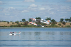 RC Hydroplane taking off stock image