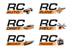 Rc icon set. Radio control  Collection Set use as logo for hobby or training group Royalty Free Stock Images