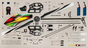 Rc model aircraft kit. Aeromodelling kit, radio controlled model helicopter elements Royalty Free Stock Photo