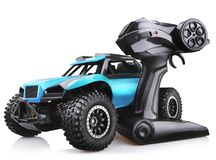 RC model rally car toy, offroad buggy with remote control royalty free stock images