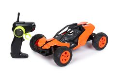 RC model rally, off road buggy with remote control. Isolated on white background, joy and fun sport.  stock image