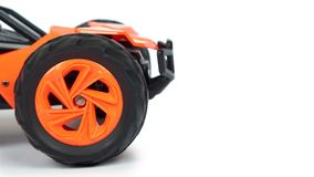 RC model rally, off road race buggy close up detail. Macro car, copy space Stock Photography