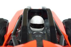 RC model rally, off road race buggy close up detail. Macro car, driver in helmet Royalty Free Stock Photos