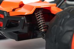 RC model rally, off road race buggy close up detail. Macro car shock absorbers stock images
