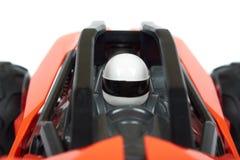 RC modela wiec z rajdu samochodowego powozika zakończenia up szczegółu, Makro- samochód, kierowca w hełmie zdjęcia royalty free