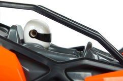 RC modela wiec z rajdu samochodowego powozika zakończenia up szczegółu, Makro- samochód, kierowca w hełmie zdjęcia stock