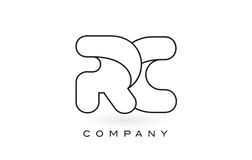 RC Monogram Letter Logo With Thin Black Monogram Outline Contour Royalty Free Stock Images