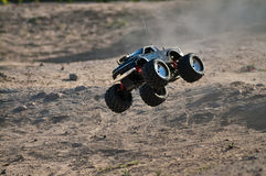 Rc monster truck. Model with wheels in air royalty free stock images