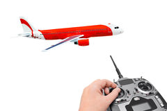 RC plane and radio remote control Stock Images